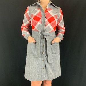 70s Sherbert Originals Plaid Dagger Collar Dress